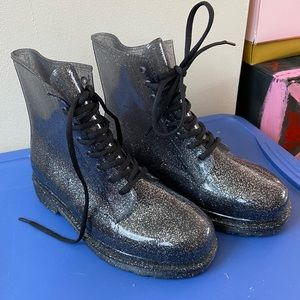 Urban Outfitters Sparkly Black Transparent Boots